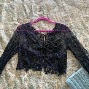 Black lace button down top